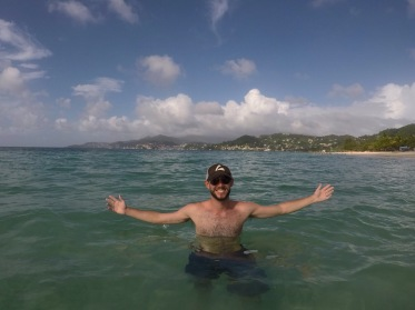 St. George's in the background at Grand Anse Beach.