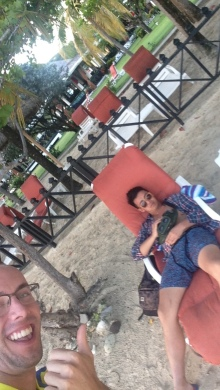 I caught Don taking a nap on one of the Grand Anse resort's lounge chairs.